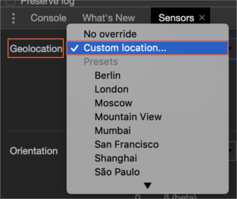 geolocation custom location